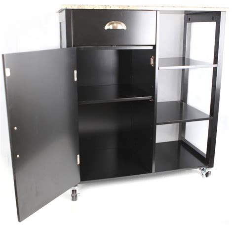Kitchen Storage Carts Cabinets Khome Black Finish Wood Marble Vinyl Top Kitchen Storage Cabinet Cart Contemporary Kitchen