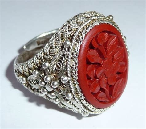 Carved Flower Rings 5 by China Approx 1930 Silver Filigree Ring With Carved