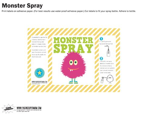 printable label for monster spray monster spray free printable label pink paging supermom