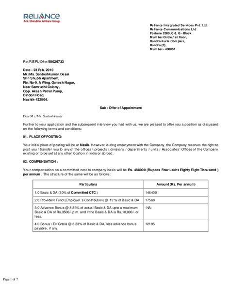 Offer Letter For Apartment Rental Offer Letter Pdf Rispl