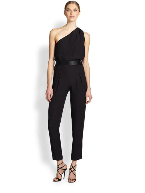 One Jumpsuit by One Shoulder Crepe Jumpsuit In Black Lyst