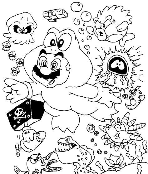 Mario Enemies Coloring Pages   frog suit mario with enemies by beau skunk on deviantart