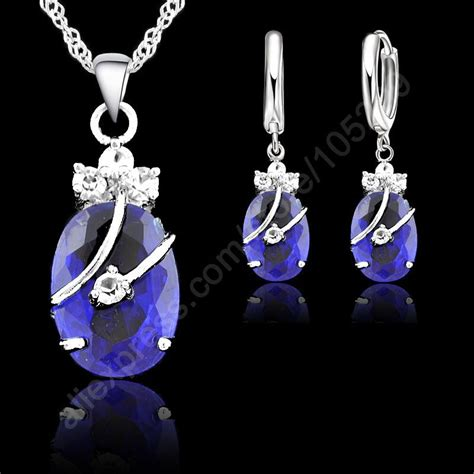Waterdrop Flowers Pendant Necklace Pair Of Earrings jexxi new flower water drop 925 sterling silver jewelry sets cubic zironia pendant necklace
