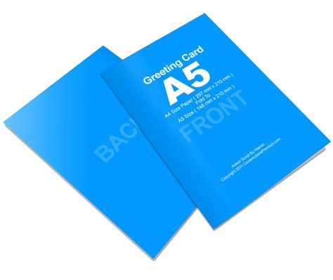 A4 Half Fold Card Template by Bi Fold A5 Greeting Card Mockup Cover Actions Premium
