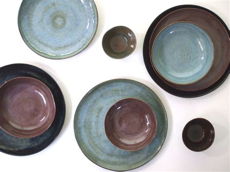 Handmade Pottery Dinnerware Sets - stoneware dinnerware set in four colors stoneware dishes