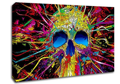 colorful canvas colorful skull modern canvas stretched canvas