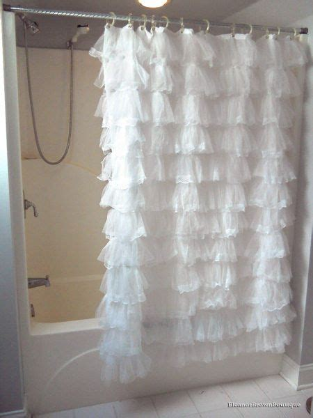 Country Chic Shower Curtains white lace thick ruffled shower curtain country chic