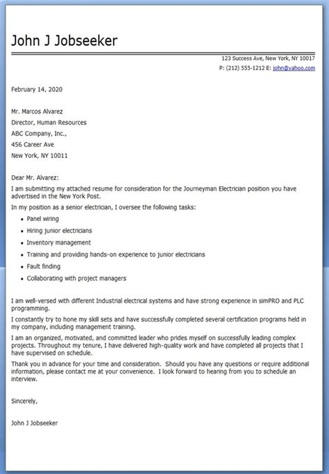 Electrician Resume Cover Letter journeyman electrician cover letter exles resume downloads