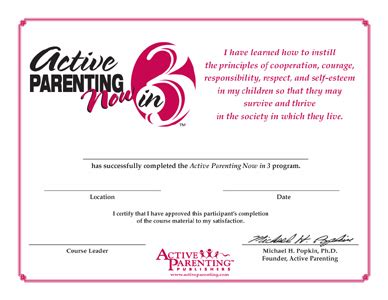 Active Parenting 4th Edition Active Parenting Canada Parenting Class Certificate Of Completion Template