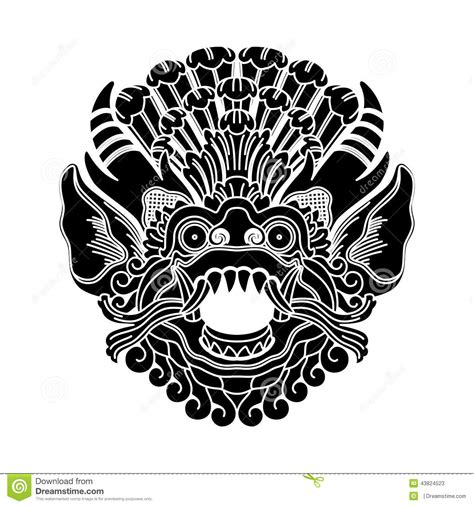 mythological gods head indonesian traditional art stock