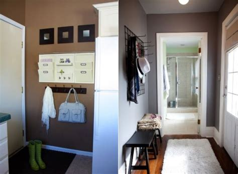 clever storage solutions    organized entry hallway
