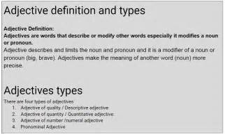 types meaning adjectives definition english grammar blog