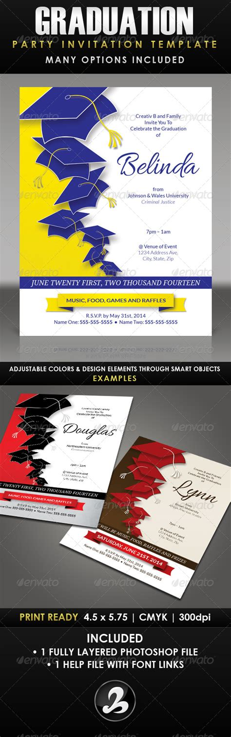 Graduation Party Invitation Template 1 By Creativb Graphicriver Graduation Dinner Menu Templates
