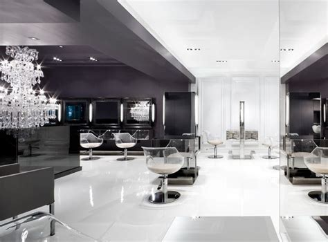 black hair studio in paris france gray black white kerastase salon design pinterest
