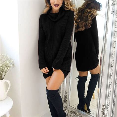 Turtleneck Mini Sweater Dress mini sweater dress pullover knitted sweater dress with