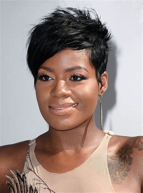 black weave boycut fantasia barrino short layered side part bangs pixie