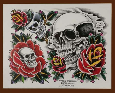 tattoos and their meanings roses and skulls iron brush