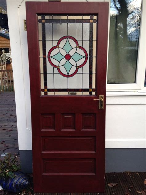 Vintage Front Doors Stained Glass Front Door 1930s Wood Reclaimed External Antique Leaded Ebay