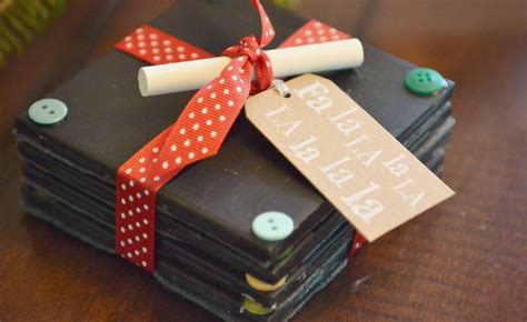 Handmade Gifts - diy chalkboard coaster set tutorial handmade gift idea
