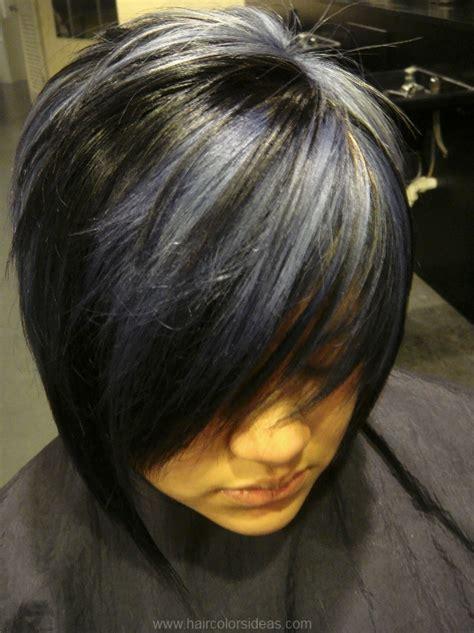 grey highlights in dark hair black highlights in gray hair short hairstyle 2013