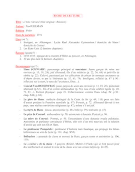L Ami Retrouve Resume by Fiche De Lecture Sur L Ami Retrouv 233 But Forbach Fiches