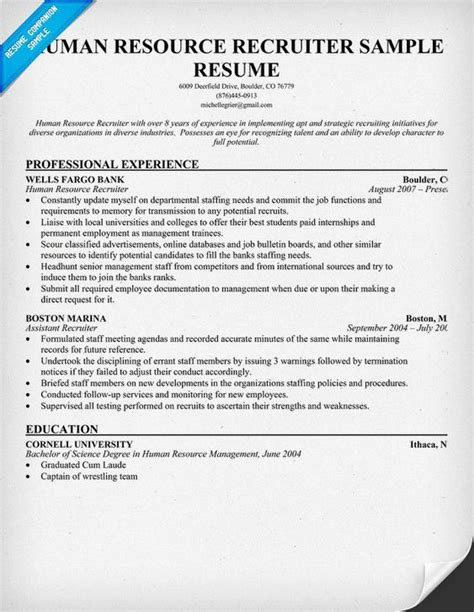 human resources resume sles human resource recruiter resume a fave