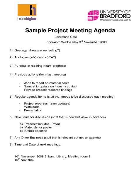 project management meeting agenda template ideal church business meeting agenda template londa