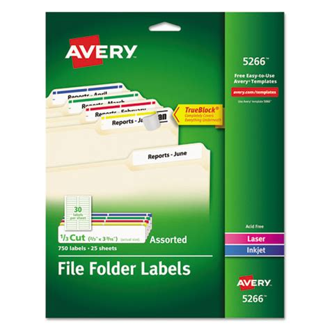 avery 5266 permanent file folder labels trueblock laser