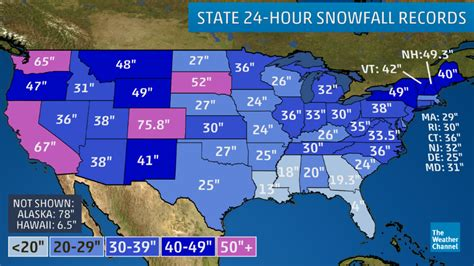 snow map united states weatherfanatics the greatest 24 hour snowfalls in all 50