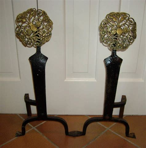 vintage nouveau arts crafts brass cast iron