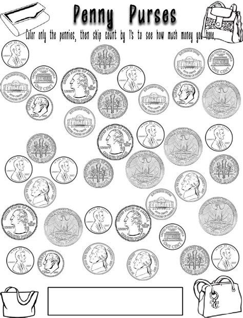 coin coloring pages my classroom pinterest