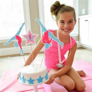 gymnastics tumbling birthday party customized cake topper