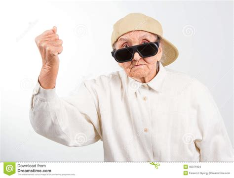 cool stock cool grandma kicks with her fist stock photo image 45371904