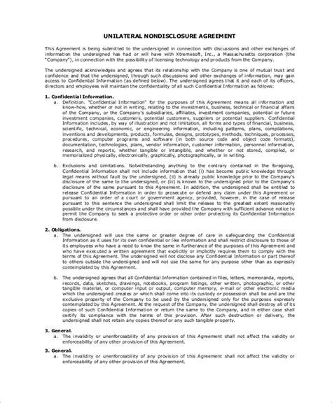 sle non disclosure agreement in pdf 10 exles in pdf