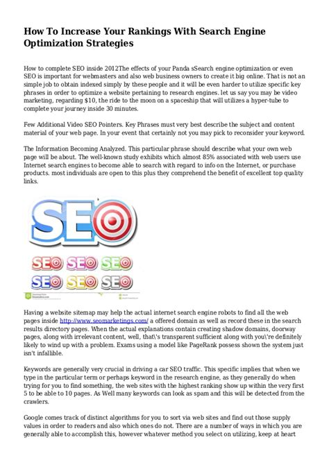 Search Engine Optimization Strategies by How To Increase Your Rankings With Search Engine