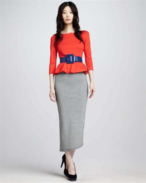 patty peplum top darcey striped maxi skirt