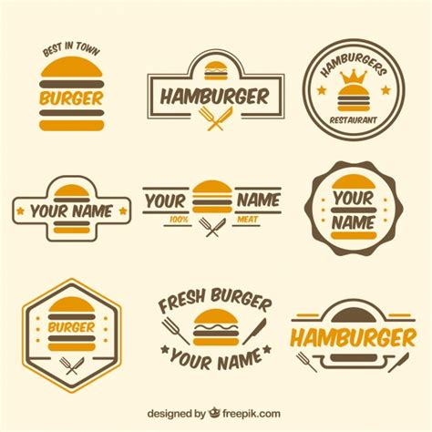 how to create an elegant red burger logo with aaa logo burger logo colection vector free download