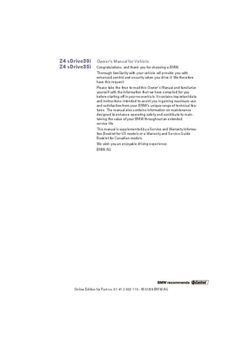 service manuals schematics 2009 bmw z4 m security system 2009 bmw z4 sdrive 30i 35i e89 owners manual