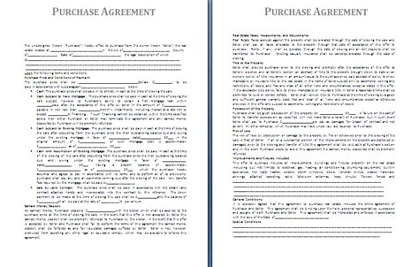 purchase agreement template free agreement templates