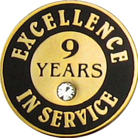 how is 9 in years 9 years of service pin w