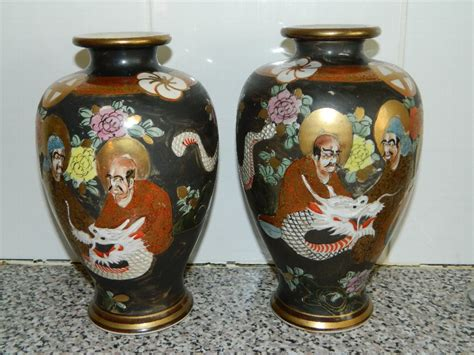 Antique Vases From Japan by Antique Japanese Satsuma Vases Meiji Period Antiques Co Uk