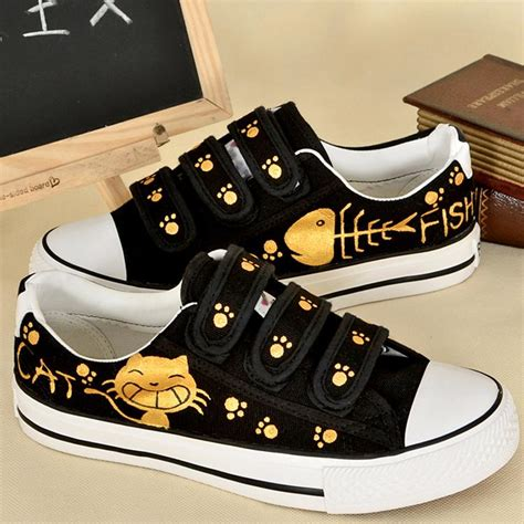 Fish Cat Shoes hook loop painting cat fish shoes fashion sneakers flat heels canvas shoes size eu34