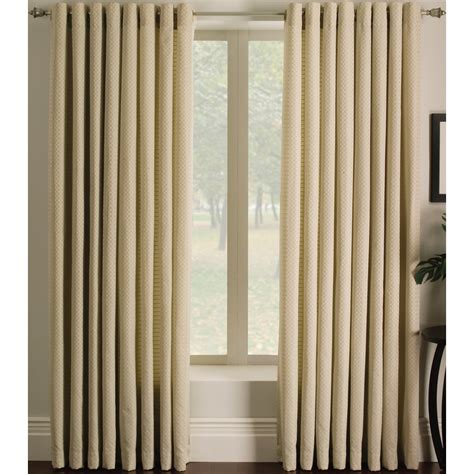 lowes window curtains shop allen roth sullivan 84 in l checked ivory grommet
