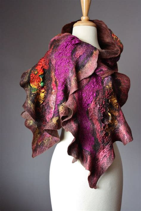 reserved nuno felted scarf wool silk collage handdyed