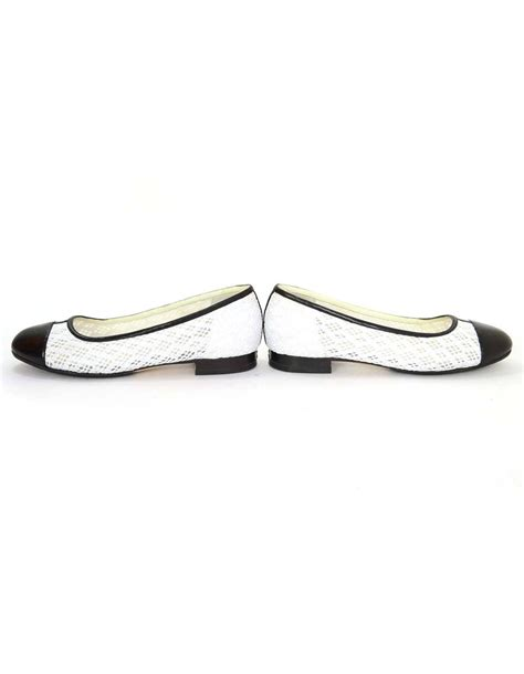 chanel black and white eyelet cap toe flats sz 37 for sale