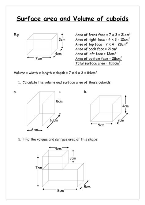 printable math worksheets surface area surface area worksheets with nets search results