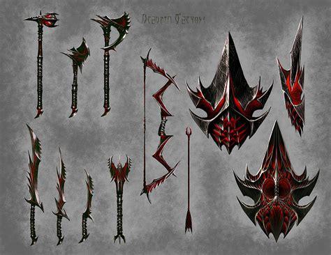skyrim daedric armor and weapons daedric weapons video games artwork