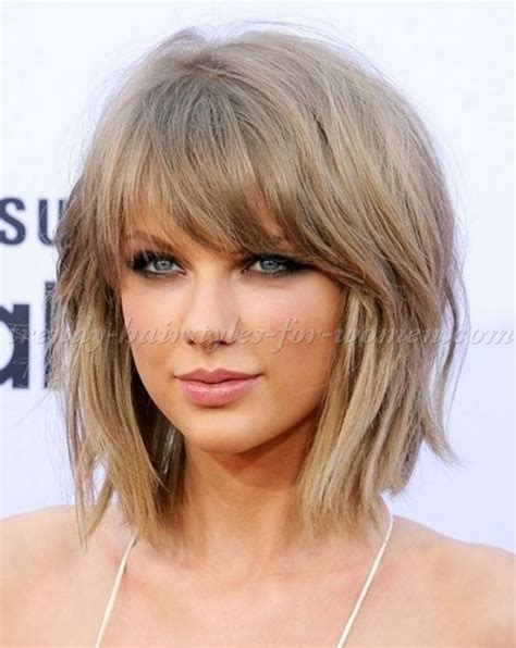 above shoulder shag layered bob with bangs medium length hairstyles for straight hair taylor swift