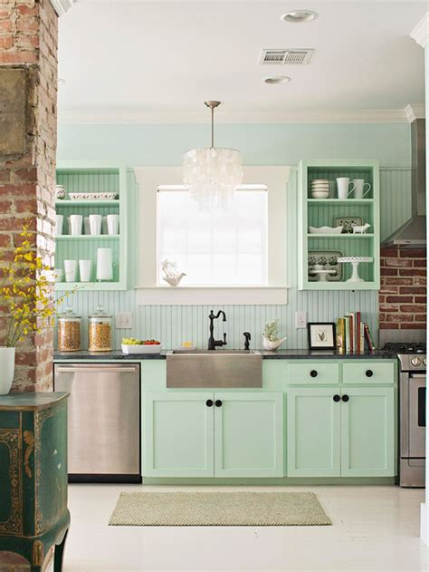blue green kitchen cabinets mint green cabinets eclectic kitchen