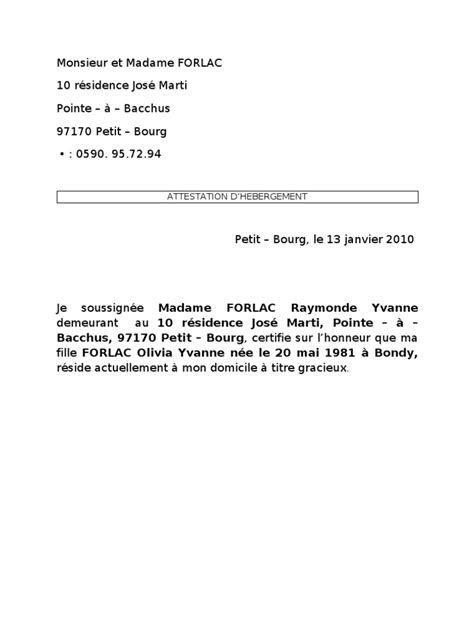 Letter Type Attestation Hebergement Attestation D H 233 Bergement